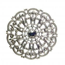 old silver plated round filigree brooch