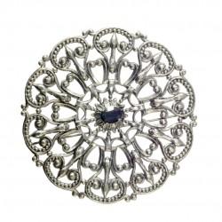 Broche Ronde Filigrane Vieil Argent crystal Swarovski