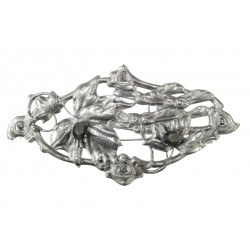 old silver plated 2 crystal foliage brooch