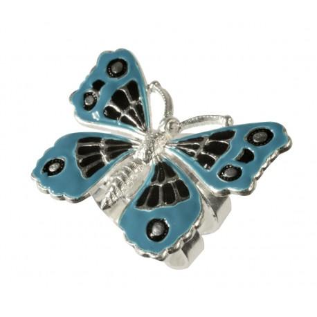 Bague Papillon Petit argenté lacqué bleu noir taille ajustable