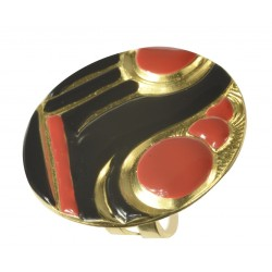 gold plated red and black cold enamel round ring