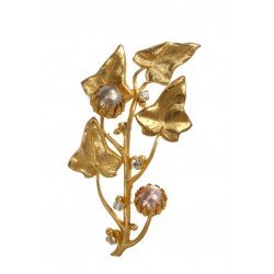 Broche Fleur Perle Dorée