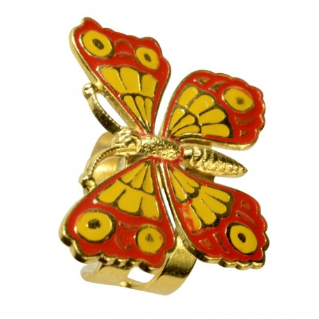Bague Papillon petit doré lacqué jaune et rouge, taille ajustable