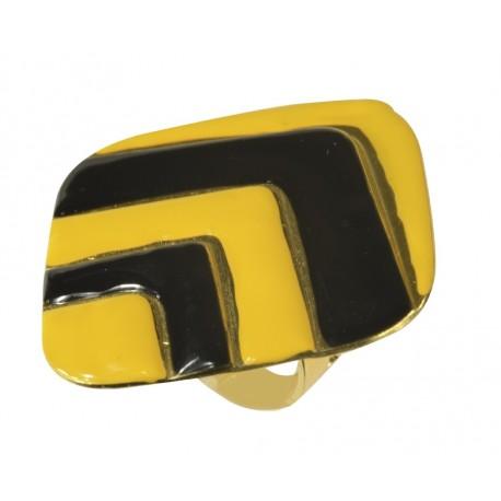 Bague Carré doré lacqué jaune et nior taille ajustable