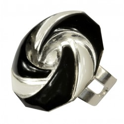 silver plated black and white cold enamel small round ring