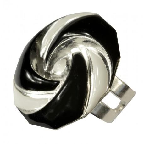 Bague ronde petite argenté lacqué noir et blanc