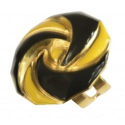 Bague ronde petite doré lacqué jaune et noir taille ajustable