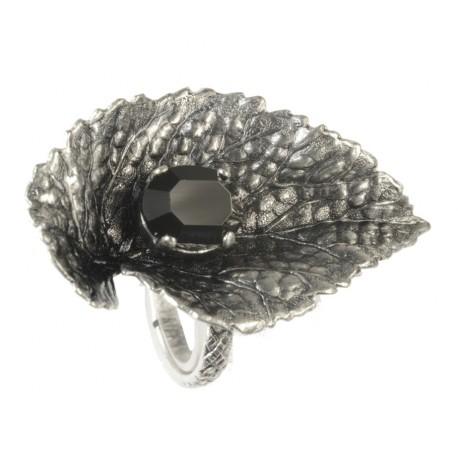 Bague Feuille vieil argent crystal Swarovski noir, taille ajustable