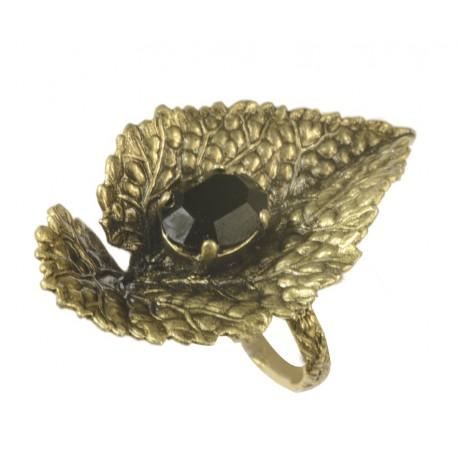 Bague Feuille Vieil Or crystal Swarovski noir taille ajustable