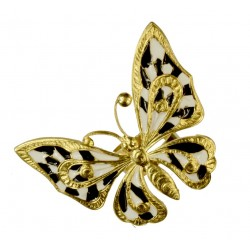 Gold plated white and black cold enamel big butterfly ring