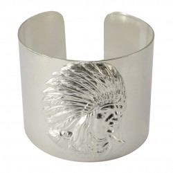 silver plated indian head bracelet