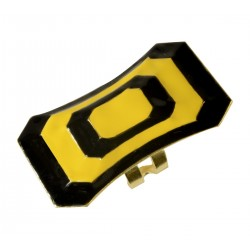 gold plated yellow and black cold enamellong ring