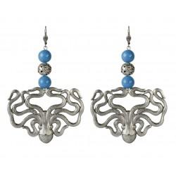 old silver octopus blue jade earrings
