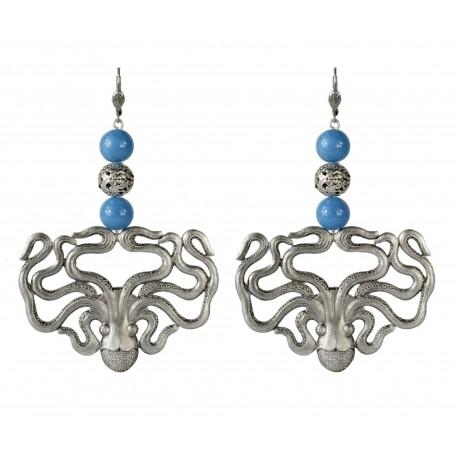 Boucles d'oreilles Pieuvres vieil argent avec jade bleu