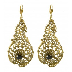 old gold plated with black crystal earrings
