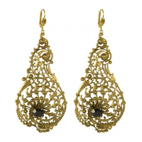 Boucles d'oreilles filigranes poires vieil or crystal Swarovski noir