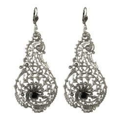 old silver plated with black crystal earrings