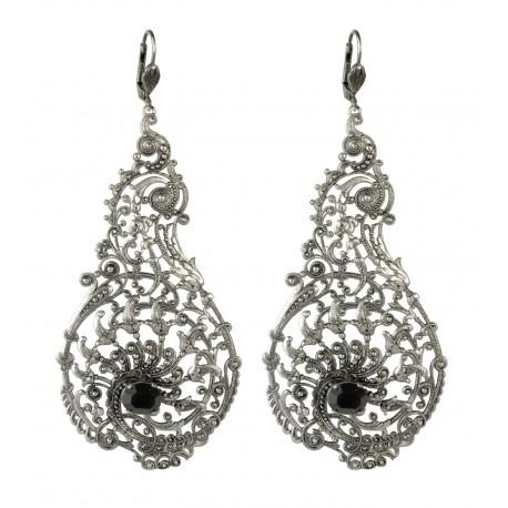 Boucles d'oreilles filigranes poires vieil argent crystal Swarovski noir