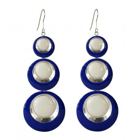 Boucles d'oreilles Ronds argentés lacqués bleu et blanc