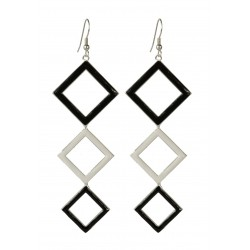 silver plated white and black squarred earrings