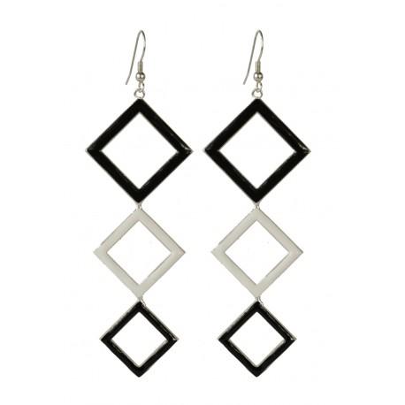 Boucles d'oreilles Carrés argentés lacqués blanc et noir