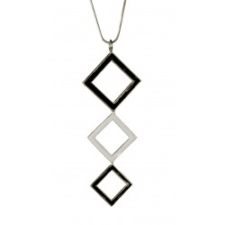 silver plated black and white squarre pendant