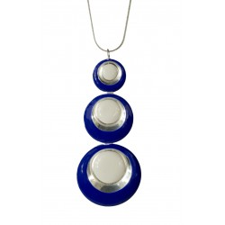 Pendentif Ronds argentés bleu et blanc