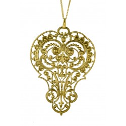 old gold plated filigree pear pendant