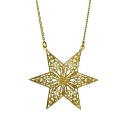 old gold plated filigree star necklace