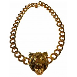 Gold plated tiger head necklace
