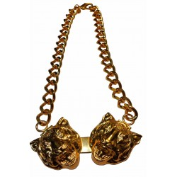gold plated two tiger heads necklace