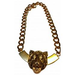 Collier tete de tigre sur arc doré