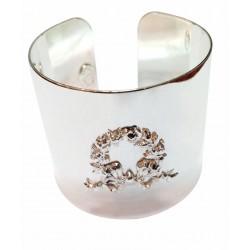 Manchette avec couronne feuillage argenté