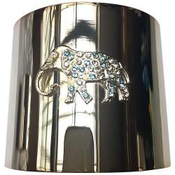 Bracelet manchette éléphant argenté