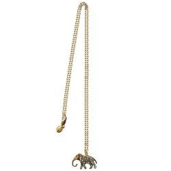 Pendentif long éléphant doré