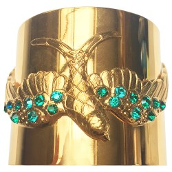 Bracelet grand oiseau doré