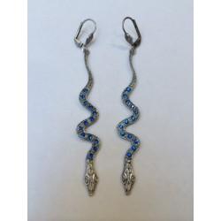 Boucles d'oreilles serpents argentés