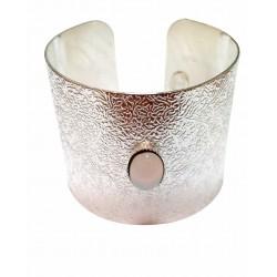 Manchette tecture avec pierre ovale argenté