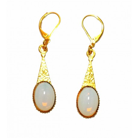Boucles d'oreilles avec pierre ovale dorées