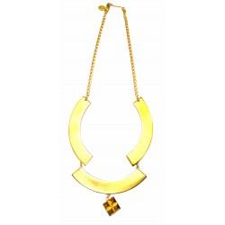 Collier arc triple avec 4 pyramides doré