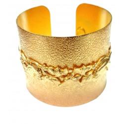 Manchette texture avec couronne feuillage doré