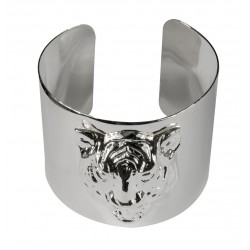 silver plated tiger head bracelet