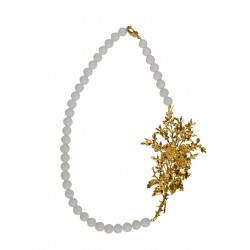 GOLD PLATED BIG FLOWER WITH WHITE  JADE NECKLACE