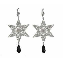 silver plated star with black stone earrings