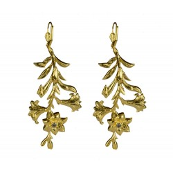 Gold plated 1 strass flower earrings