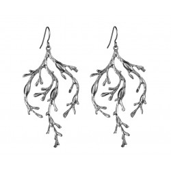 old silver plated Algae  Earrings