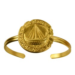 gold plated boat medallion bracelet