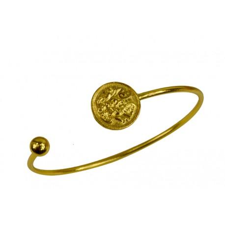 Bracelet Jonc Ouvert Boule et Zodiac Doré