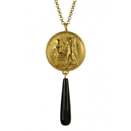 Pendentif Médaille Egyptienne Doré et Onyx Noir