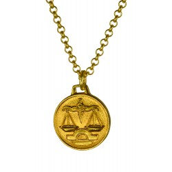 Pendentif Médaille Zodiac Doré
